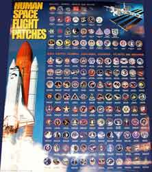 US MANNED MISSIONS FLIGHT PATCH POSTER